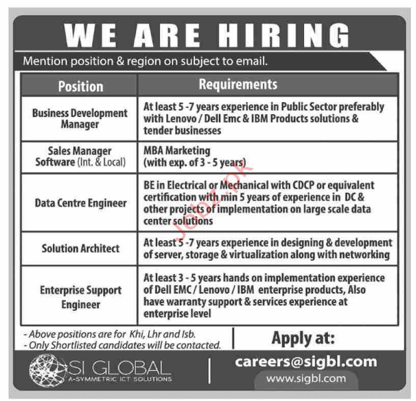 SI Global Solutions Pvt Ltd SIGBL Jobs 2019