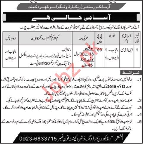 Pakistan Army Armed Core Centre Nowshera Cantt KPK Job 2019
