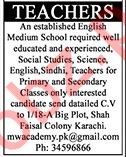 English Medium School Jobs For Teachers in Karachi