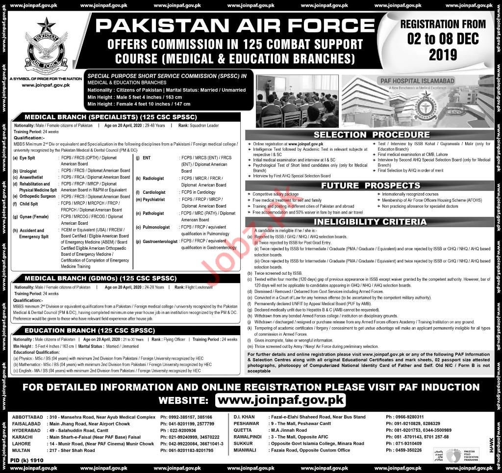 Commission Officer Jobs in Pakistan Air Force