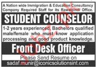 Student Counselor & Front Desk Officer Jobs 2019