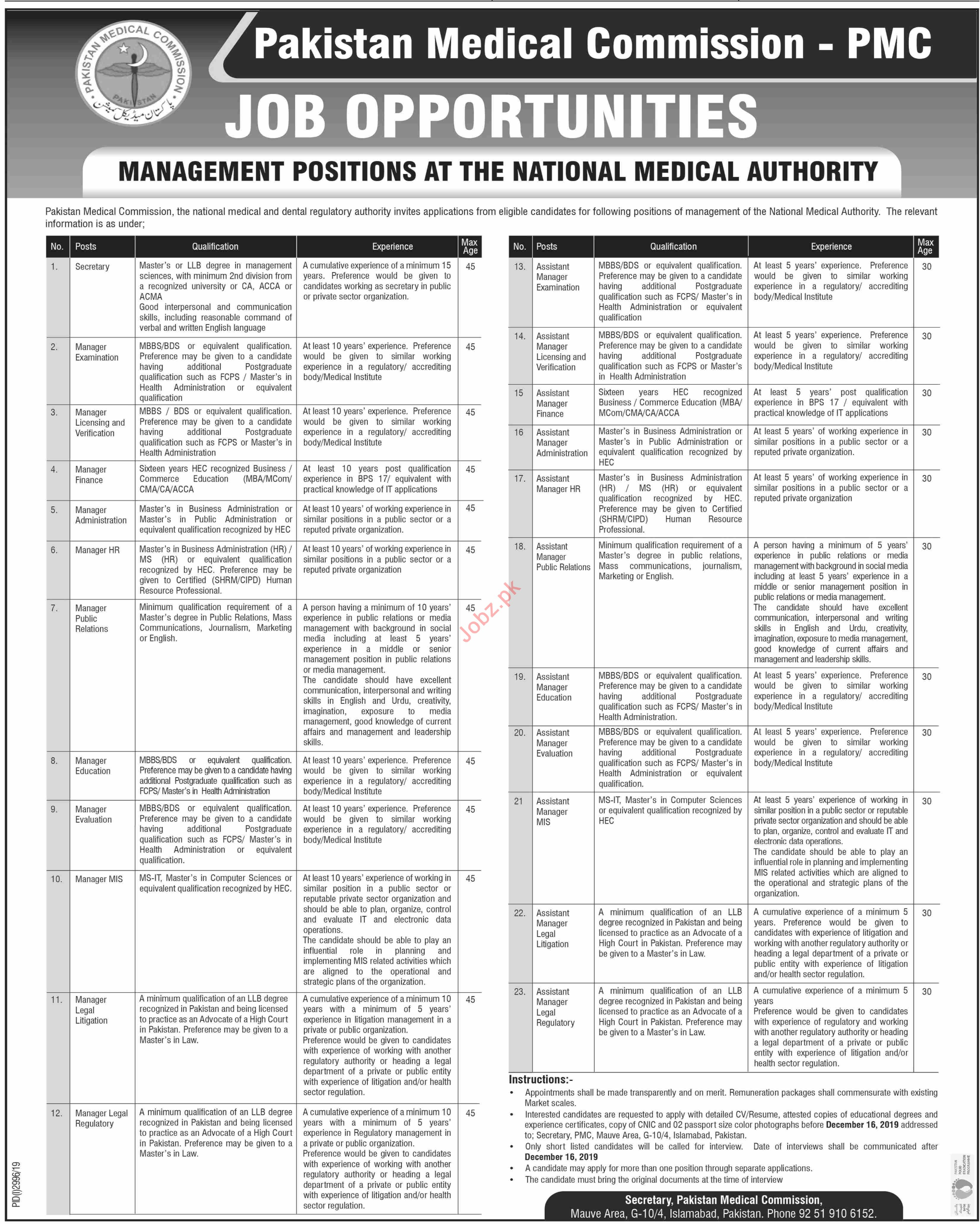 PMC Pakistan Medical Commission Jobs for Management Staff
