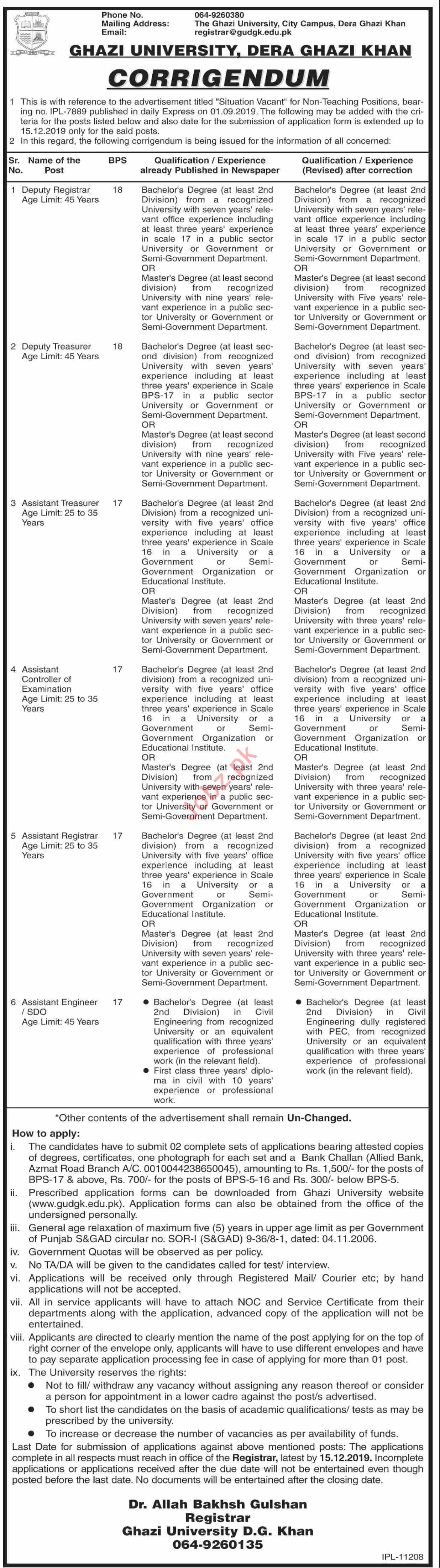 Ghazi University DG Khan Jobs 2019 for Registrar & Engineer