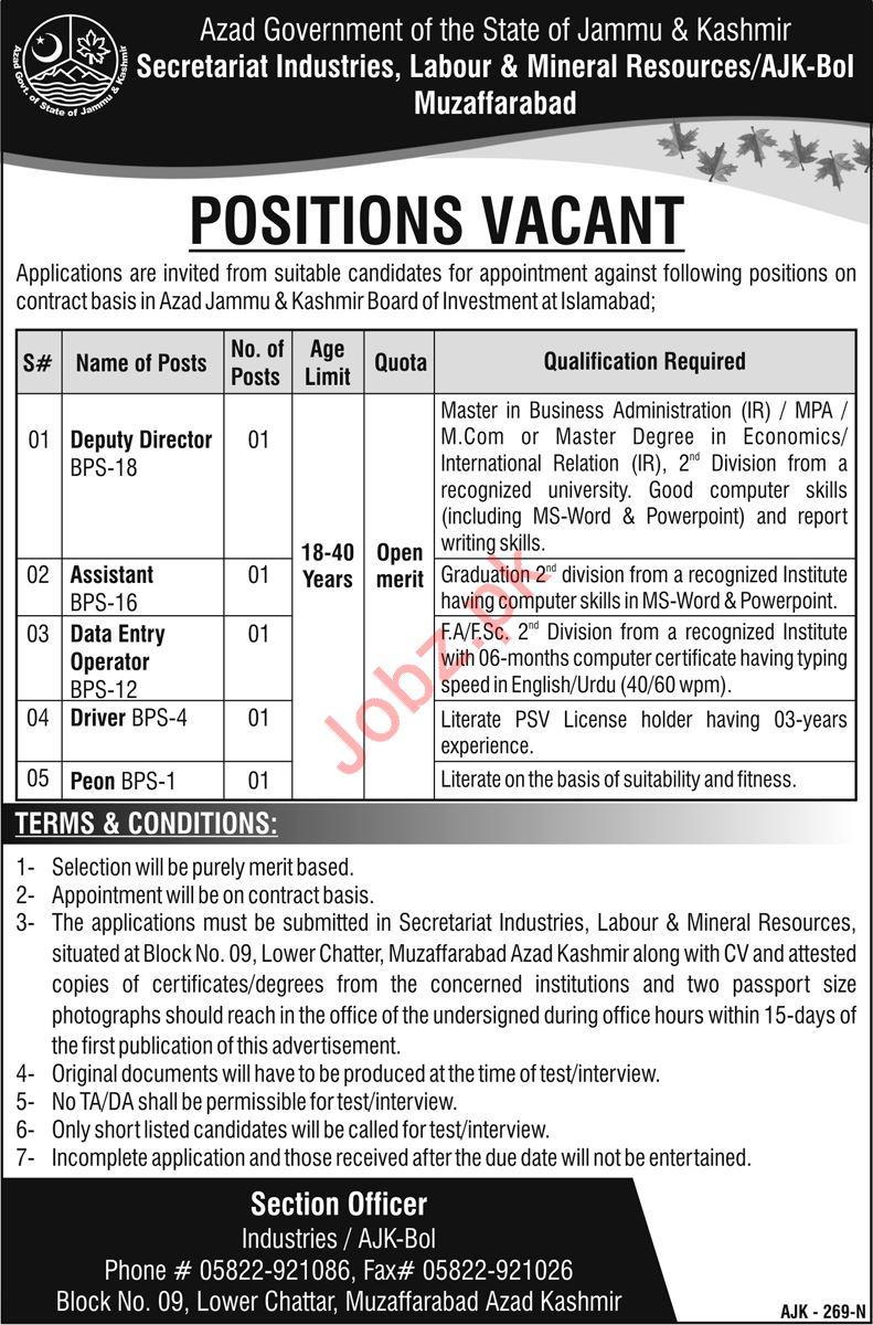 Secretariat Industries, Labour & Mineral Resources Jobs 2019
