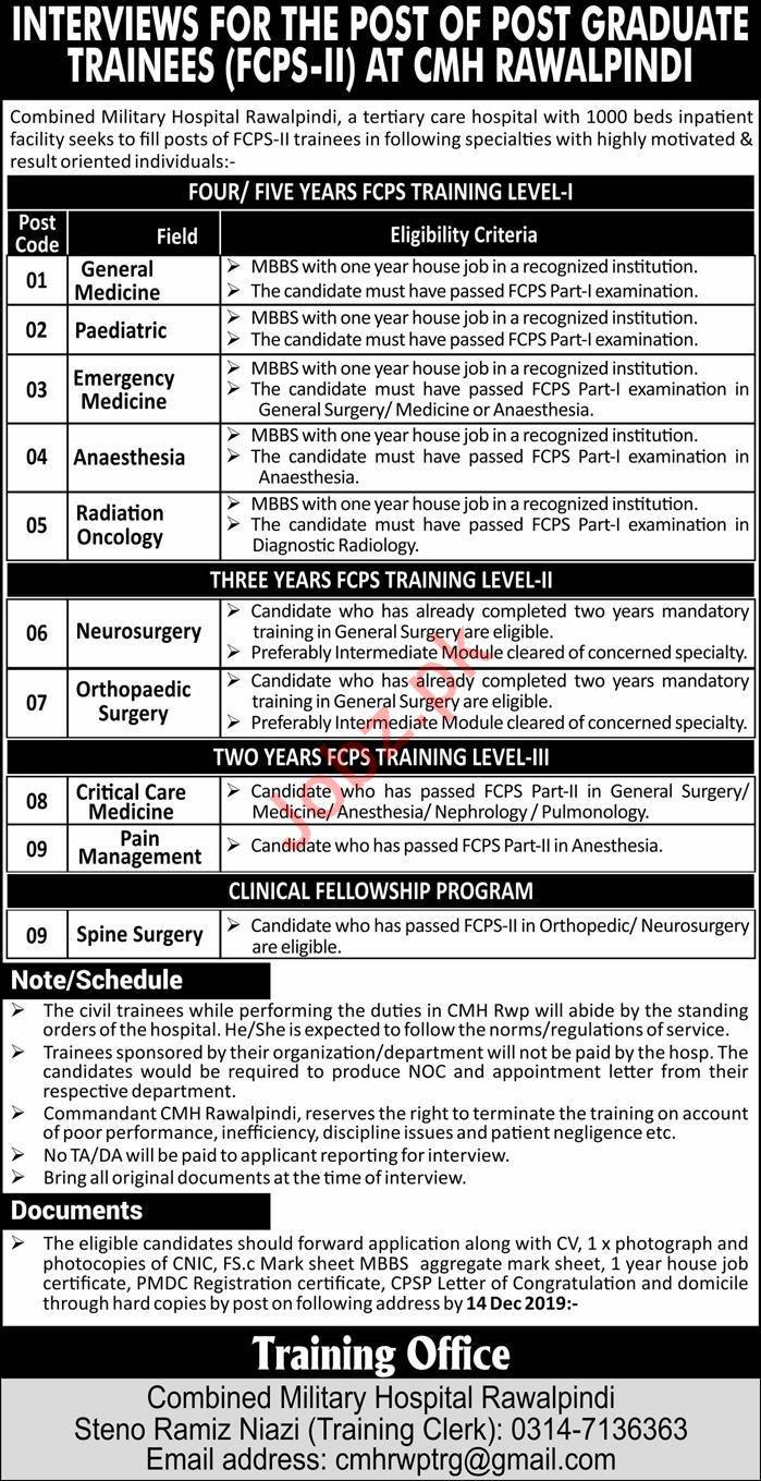 Combined Military Hospital CMH Jobs in Rawalpindi