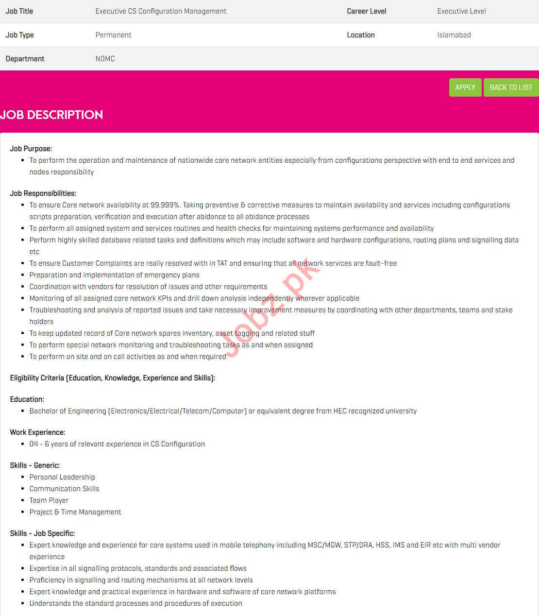 Executive CS Configuration Management jobs in Zong Pakistan