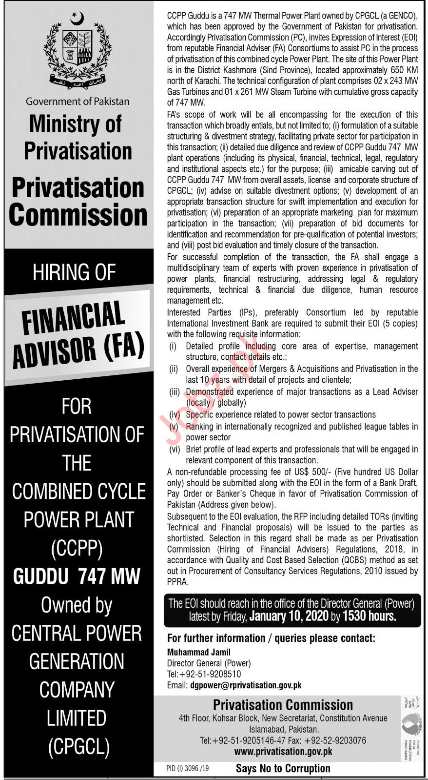 Ministry Of Privatisation Islamabad Jobs 2020