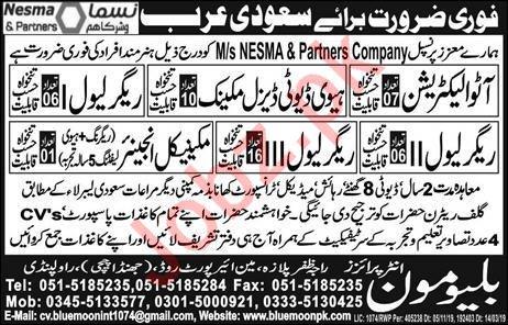 Auto Electrician Mechanical Engineer Jobs in Saudi Arabia