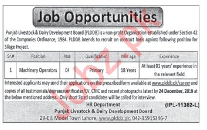 Punjab Livestock & Dairy Development Board Lahore Jobs 2019