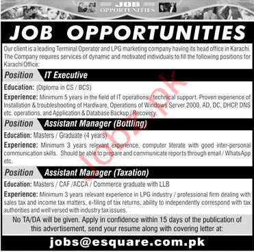 IT Executive Assistant Manager Jobs in Karachi