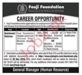 Fauji Foundation Hospital Nutritionist Jobs 2020