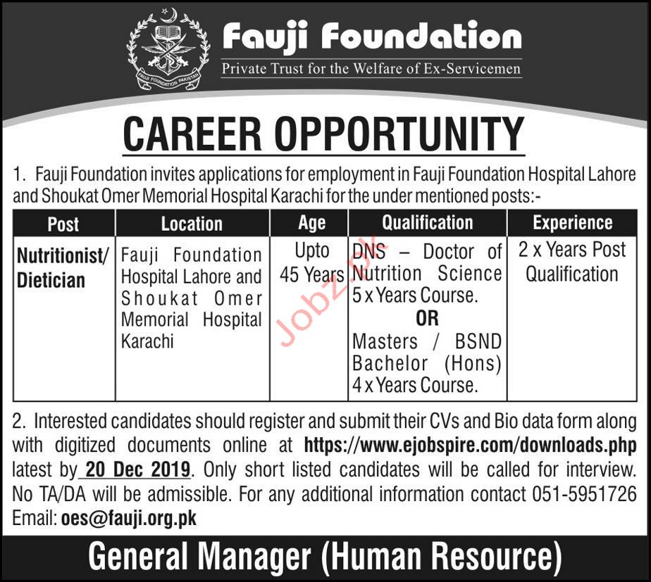 Fauji Foundation Hospital Dietitian Jobs 2020