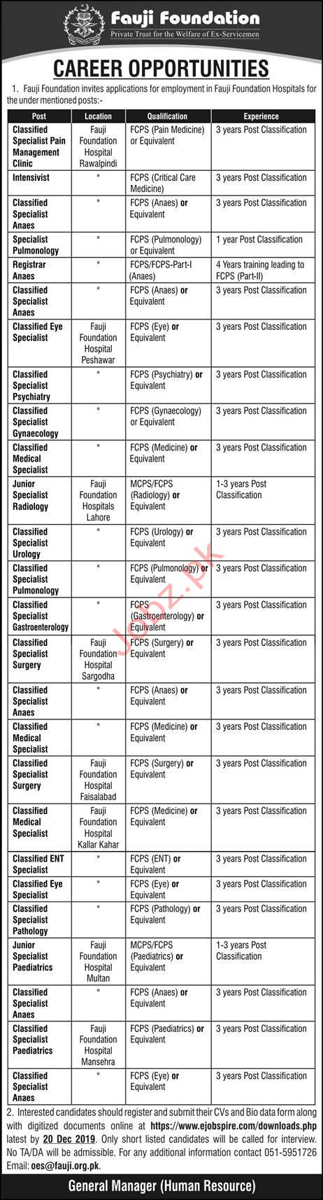 Fauji Foundation Hospital Jobs 2020