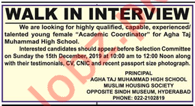 Academic Coordinator Jobs in Agha Taj Muhammad High School