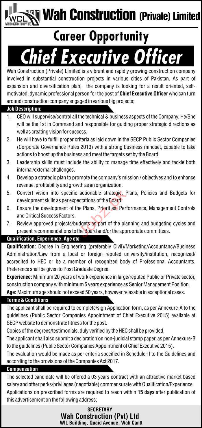 Wah Construction Pvt Ltd Jobs