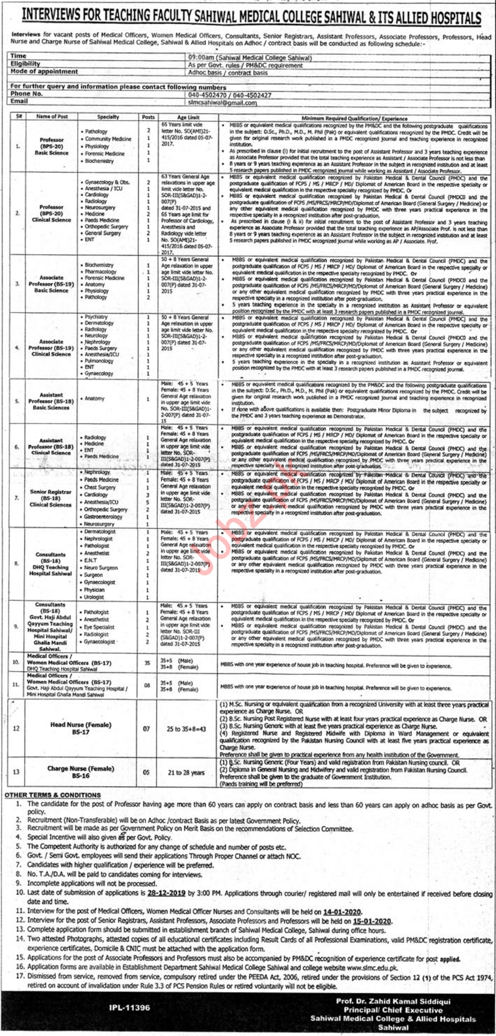 Sahiwal Medical College & ITS Allied Hospital Jobs Interview