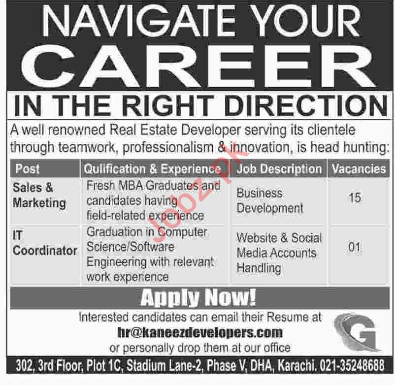 Kaneez Developers Karachi Jobs for Sales & Marketing Staff