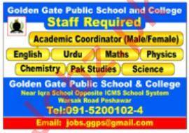 Golden Gate Public School & College Jobs in Peshawar KPK