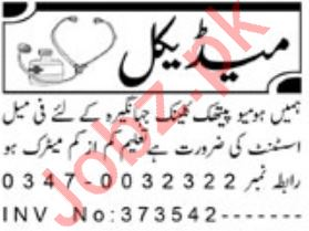 Assistant Job 2019 For Homeopathic Clinic in Peshawar KPK