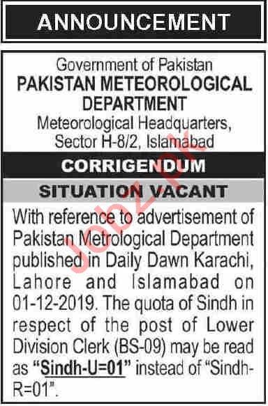 Pakistan Meteorological Department PMD Islamabad Jobs 2019