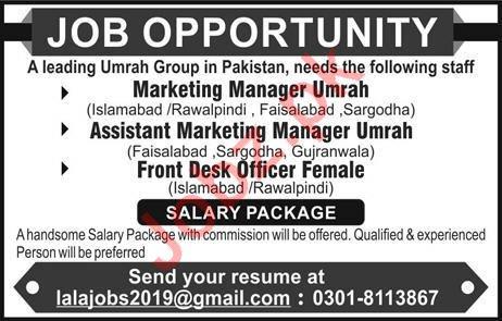 Front Desk Officer & Marketing Staff Jobs 2019