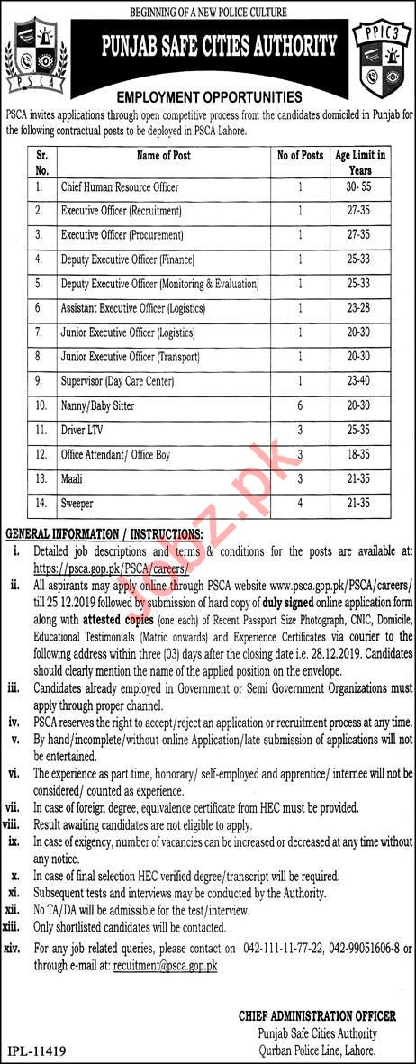 Punjab Safe Cities Authority PSCA Jobs For Management Staff