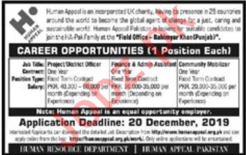 Human Appeal NGO Jobs 2019 for Project District Officer