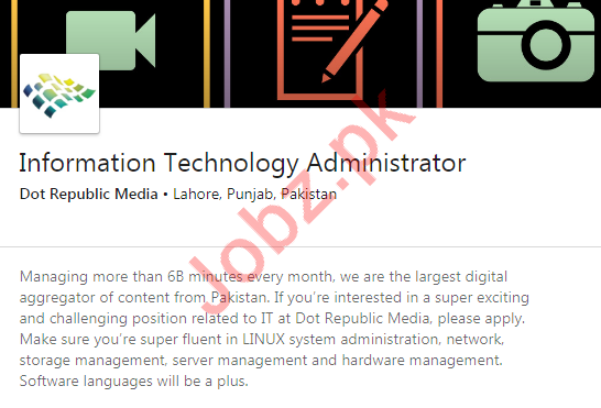 Information Technology IT Administrator Job 2019 in Lahore