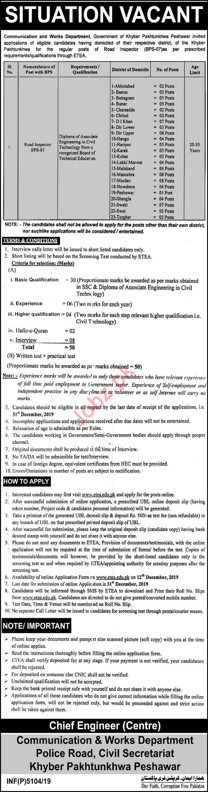 Communication & Works Department Road Inspector Jobs 2020