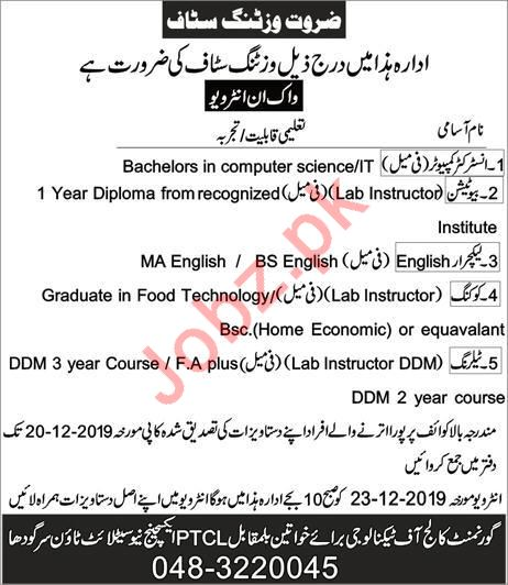 Teaching Staff Jobs in Government College of Technology GCTW