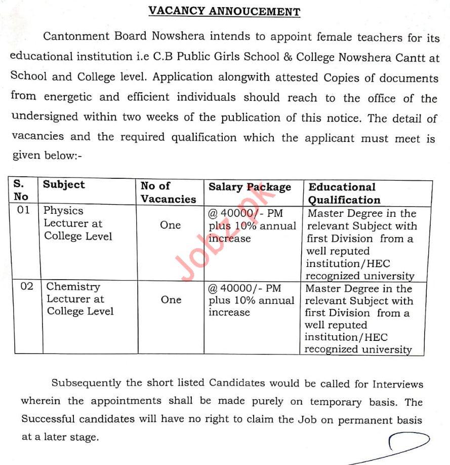 CB Public Girls School & College Nowshera Cantt Jobs 2020