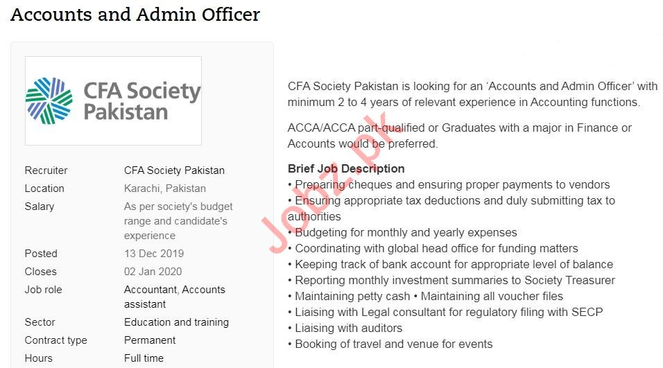 Accounts & Admin Officer Job in Karachi