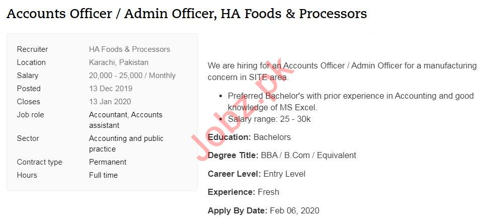 Accounts Officer & Admin Officer Jobs 2020 in Karachi