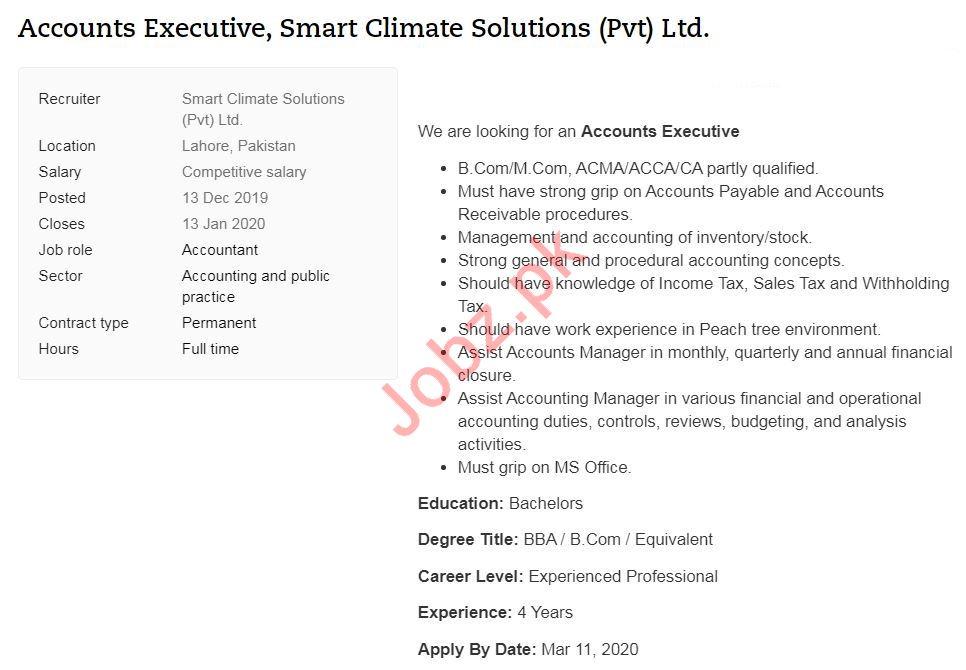 Accounts Executive Job 2020 in Lahore Pakistan