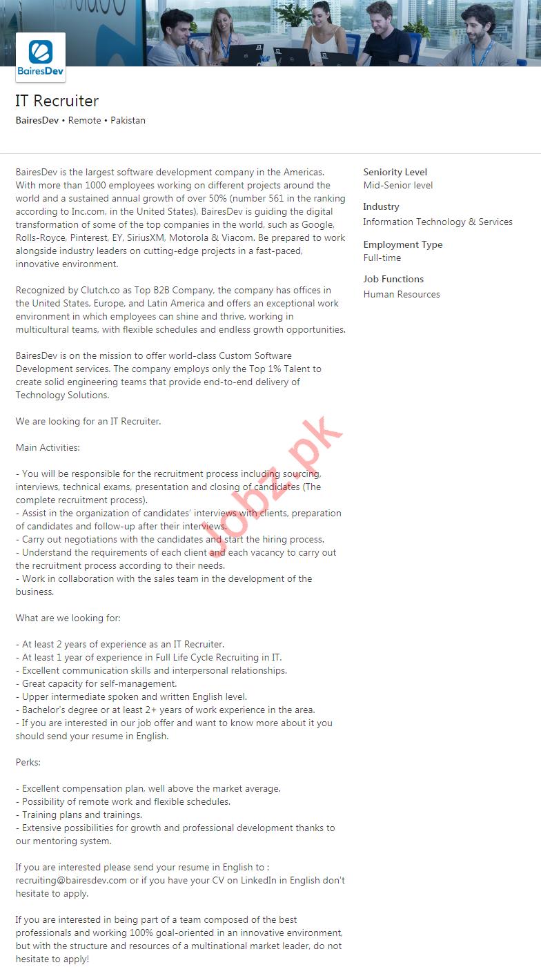 IT Recruiter Jobs 2020 in Karachi, Lahore & Islamabad