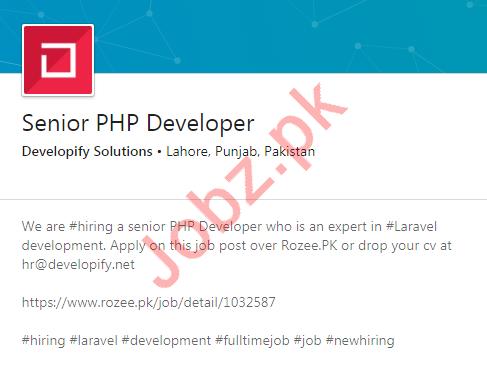 Senior PHP Developer Job 2020 in Lahore