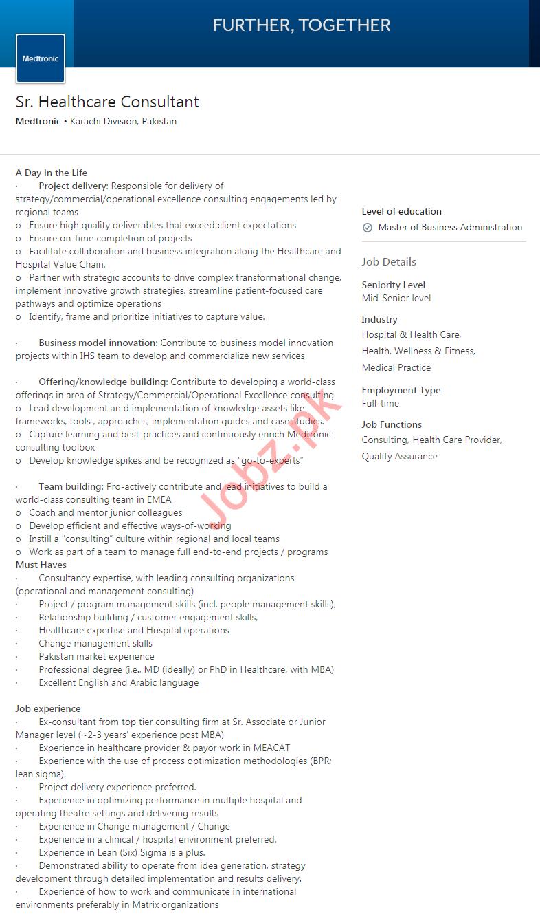 Senior Healthcare Consultant Job 2020 in Karachi