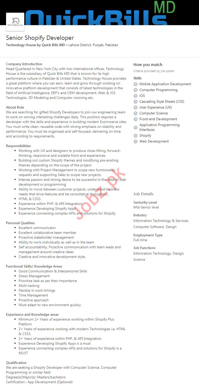 Senior Shopify Developer Job 2020 in Lahore