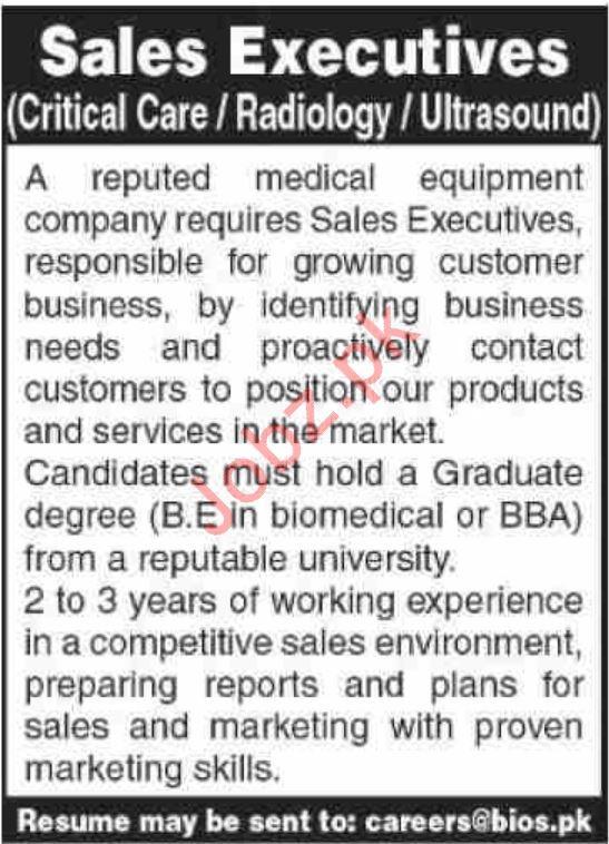 Sales Eexecutive Jobs in Medical Equipment Company