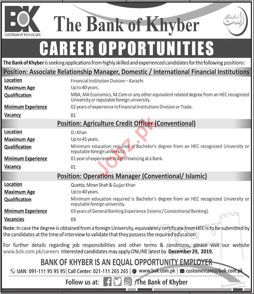 The Bank of Khyber BoK Management Jobs 2020
