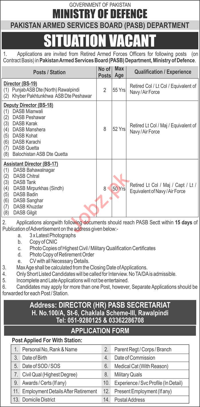 Pakistan Armed Services Board PASB Department Jobs 2020