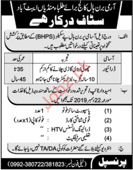 Driver Jobs in Army Burn Hall College For Boys BHPS