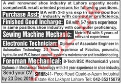 Shoe Industry Jobs in Lahore