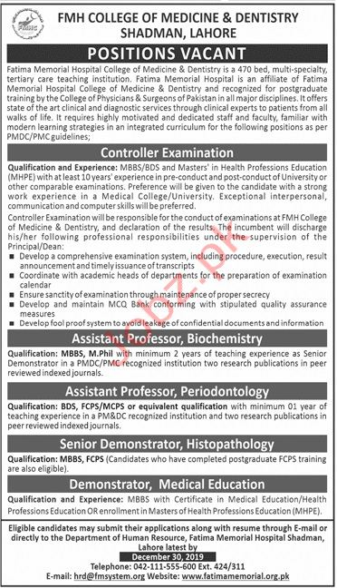 FMH College of Medicine & Dentistry Lahore Jobs
