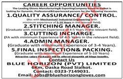 Blue Horizon Pvt Limited Jobs 2020 in Sialkot