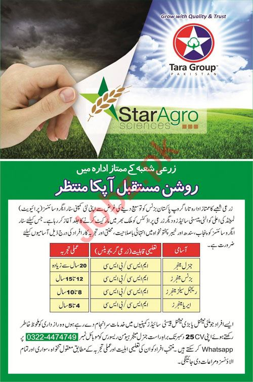 Tara Group Pakistan Jobs 2020 for Managers
