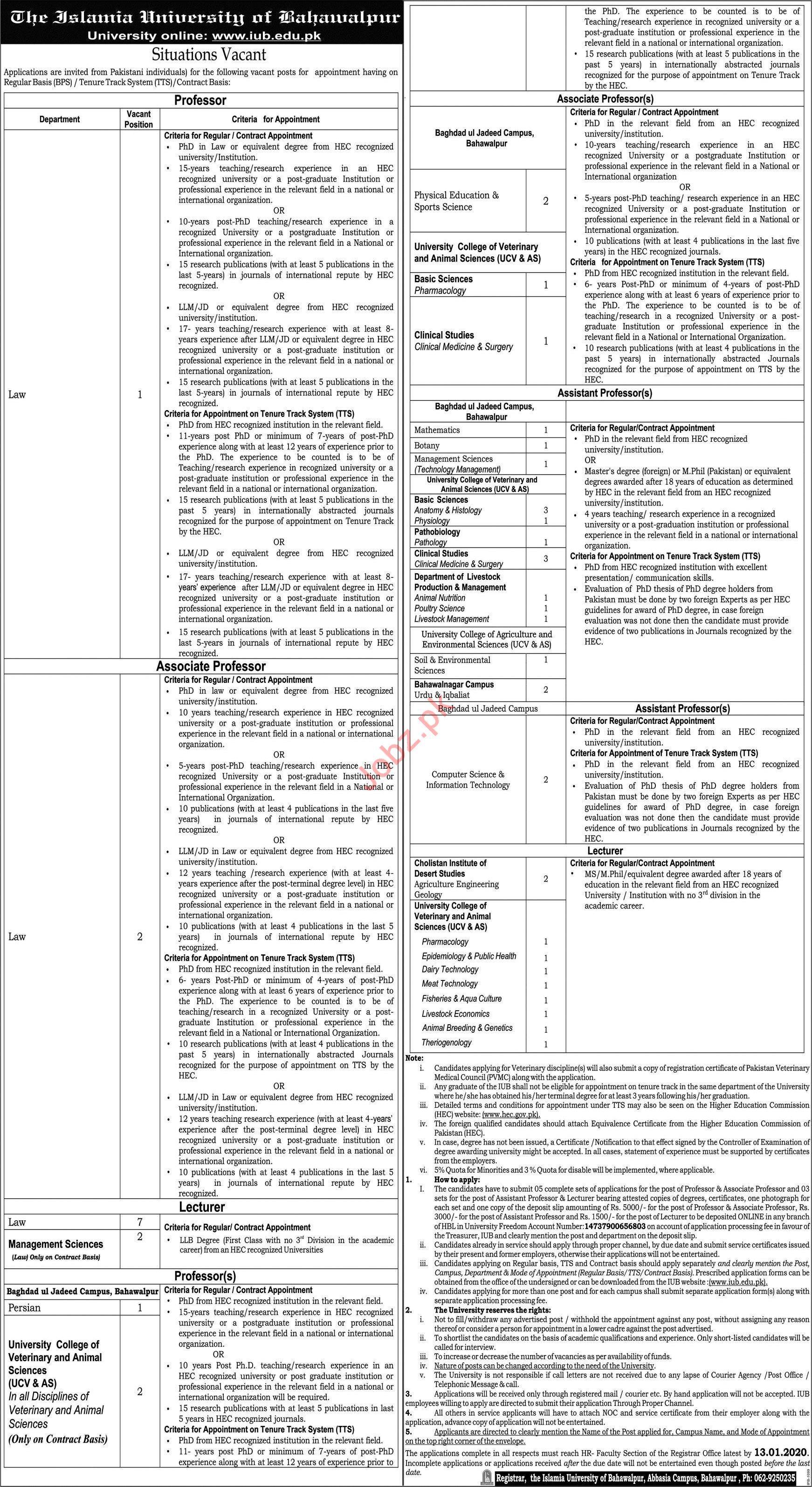The Islamia University of Bahawalpur Faculty Jobs 2020