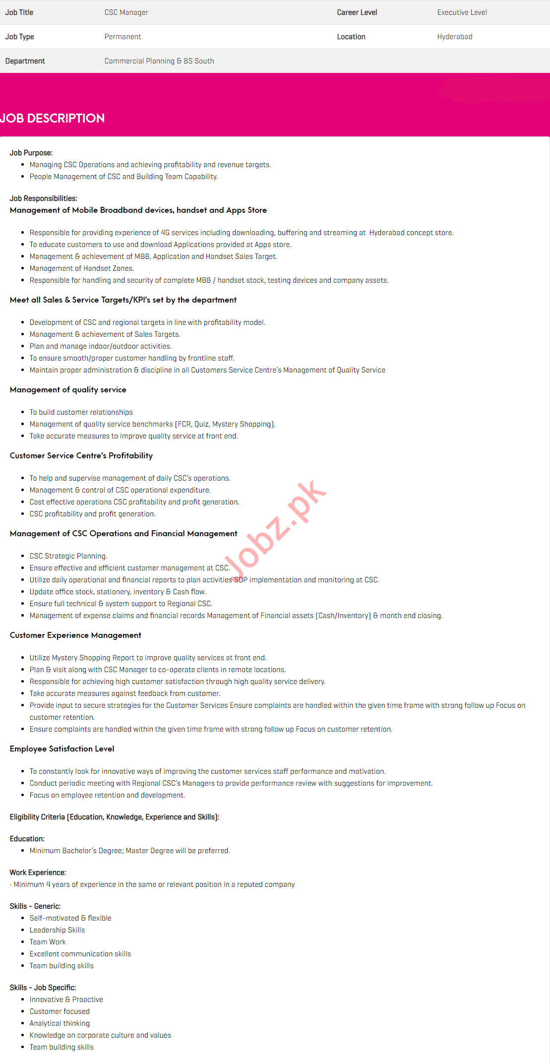 Zong Pakistan Job For CSC Manager in Hyderabad