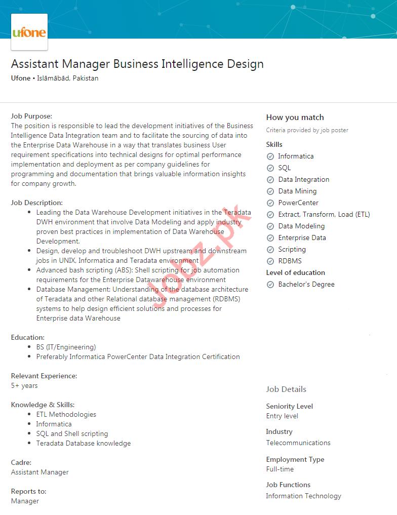 Assistant Manager Business Intelligence Design Job 2020