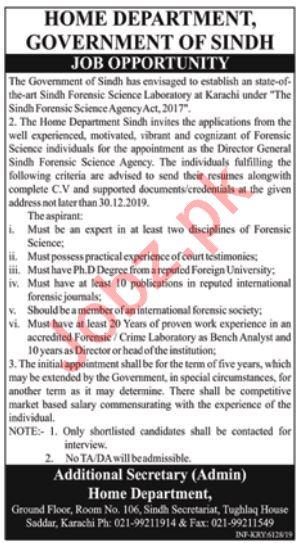 Home Department Job For Director General in Karachi